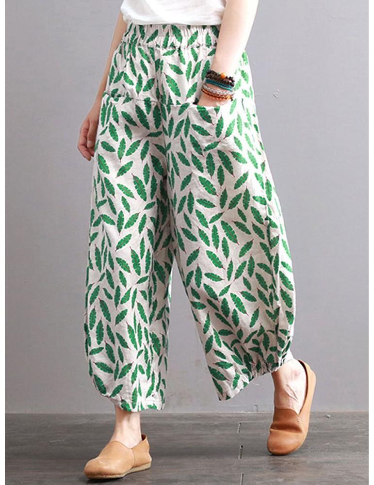 Print Leaves Oversized Pockets Elastic Waist Wide Leg Pants