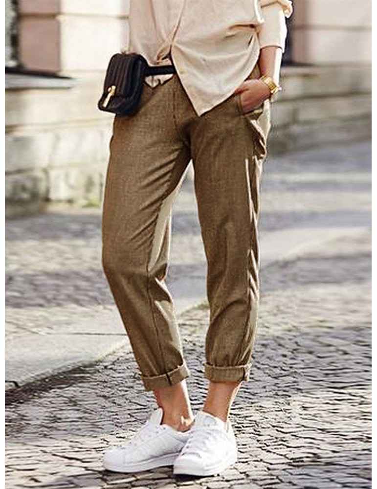 Solid Color Casual Wild Knee Pocket High Waist Pants For Women