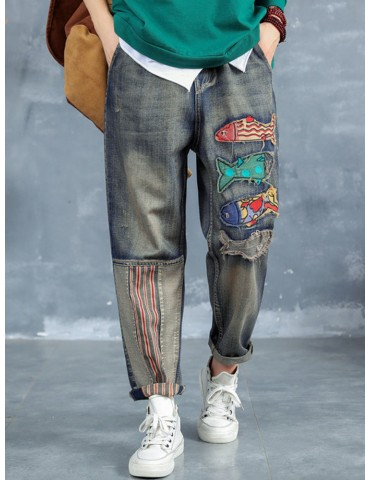Cartoon Fish Patch Stripe Jeans For Women