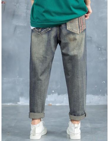 Cartoon Fish Patch Stripe Jeans For Women