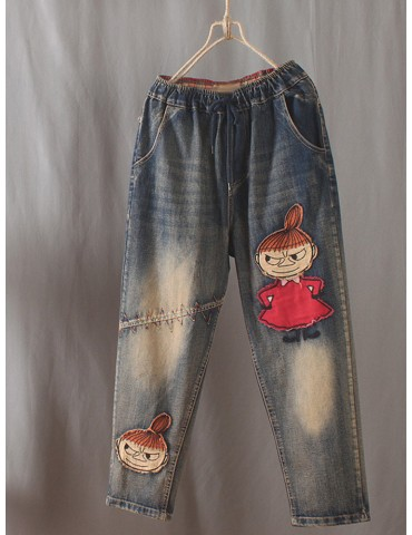 Cartoon Girl Patch Elastic Waist Jeans For Women