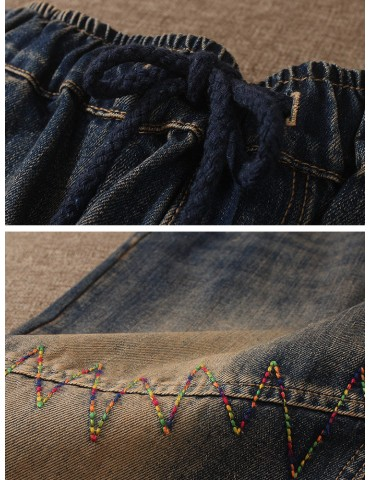 Cartoon Girl Patch Elastic Waist Jeans For Women
