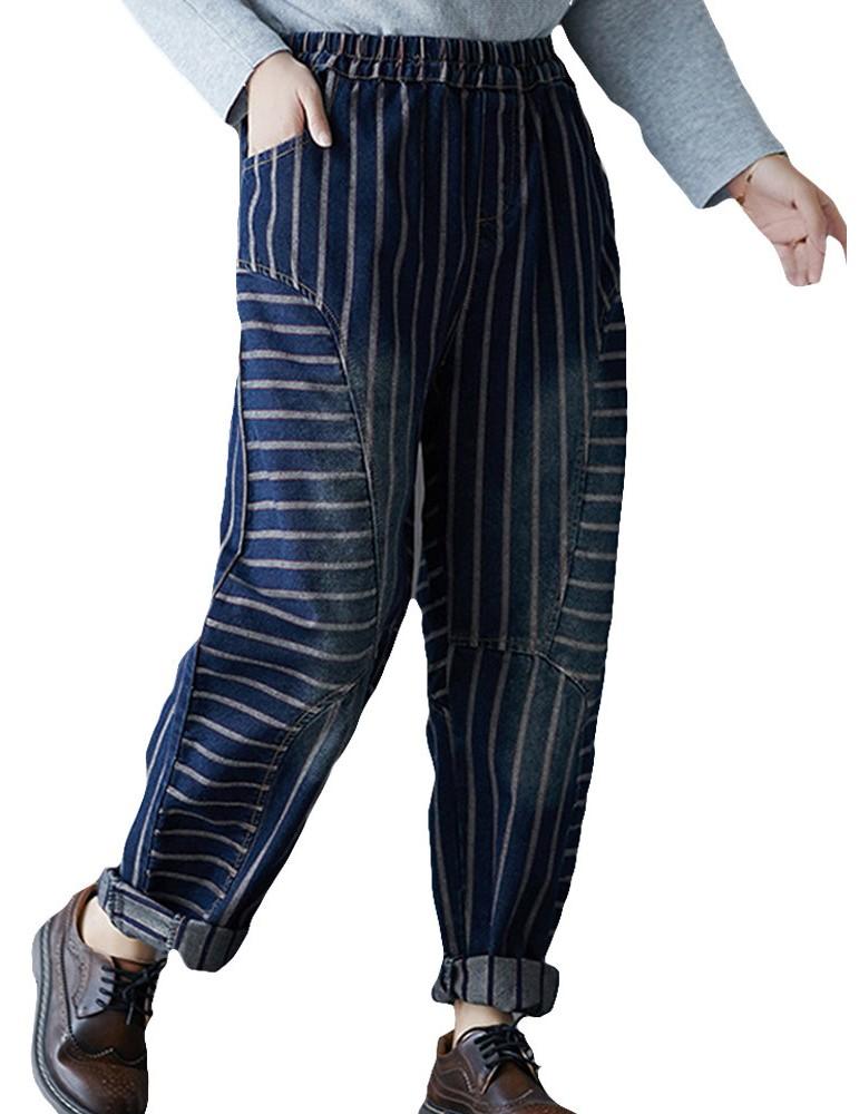 Women Vintage Striped Elastic Waist Loose Harem Jeans With Pockets