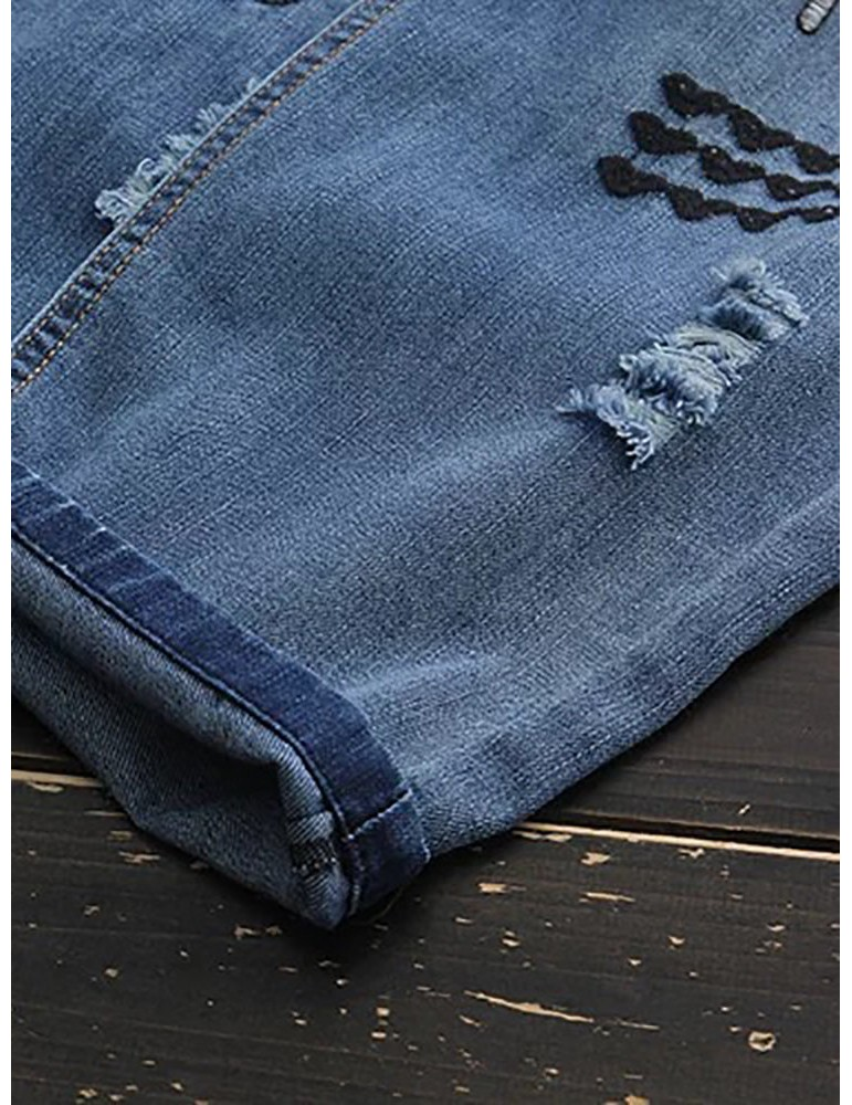 Women Elastic Waist Loose Embroidery Harem Pants