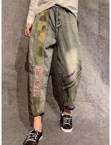 Camouflage Floral Print Patchwork Distressed Jeans Denim