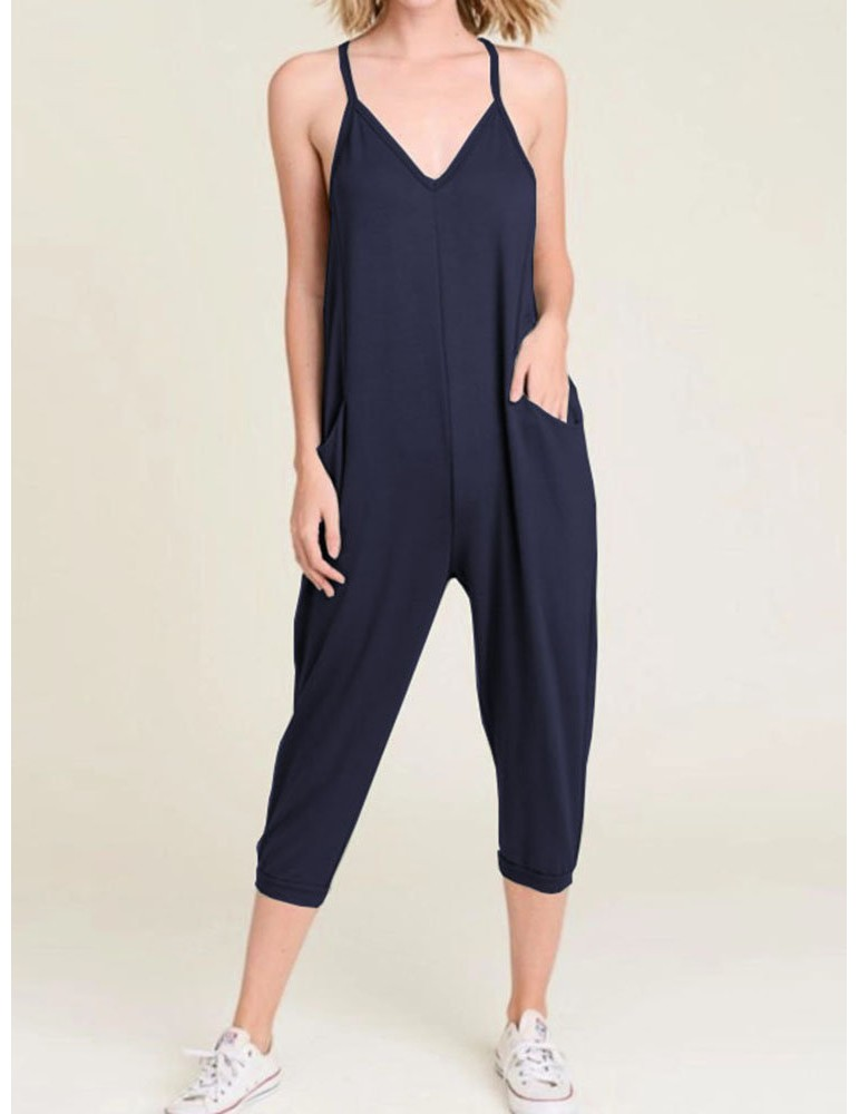 Women Solid Color Spaghetti Straps Casual Harem Jumpsuit