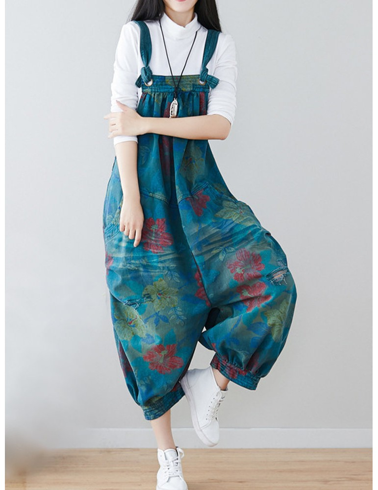 Casual Flower Printed Hole Double Pockets Loose Jumpsuits For Women