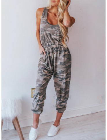 Camouflage Print Harem Drawstring Casual Jumpsuit