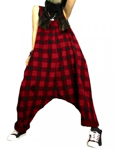 Women Loose Plaid Spaghetti Straps Casual Harem Romper