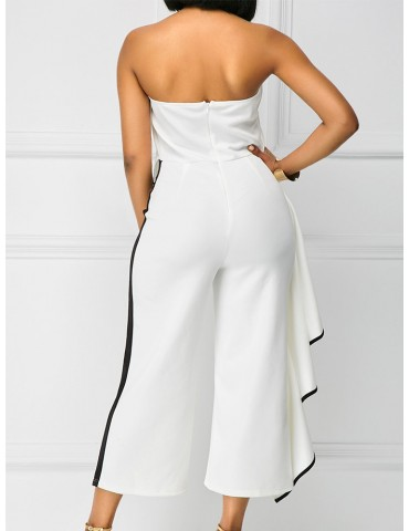 Beautiful Flouncing Strapless Wide Leg Jumpsuits For Women