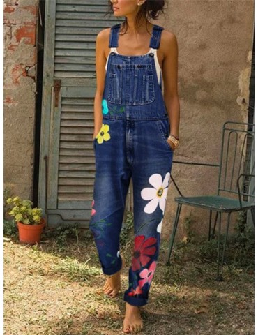Casual Big Flower Print Pockets Denim Jumpsuit