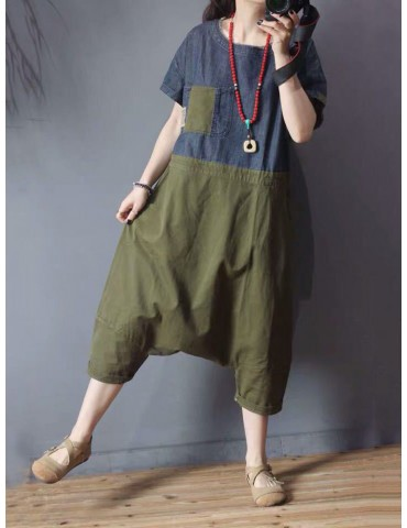 Denim Patchwork Short Sleeve Loose Casual Jumpsuit