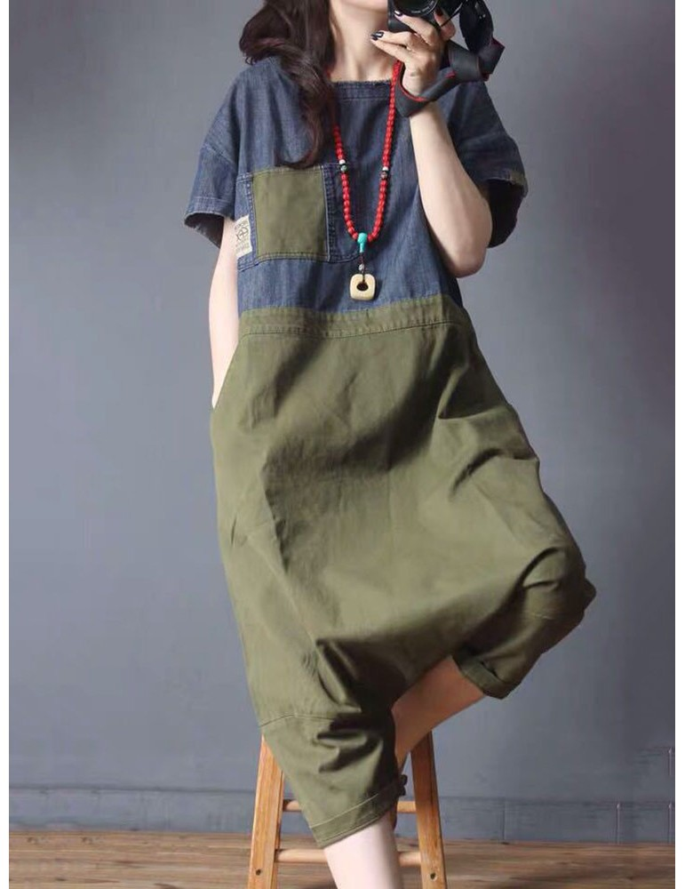 Denim Patchwork Short Sleeve Loose Casual Jumpsuit