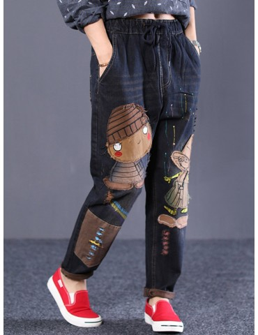Cartoon Embroidered Drawstring Waist Vintage Denim