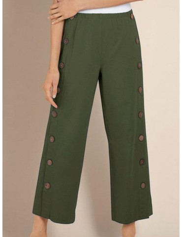 Casual Button Down Elastic Waist Straight Pants