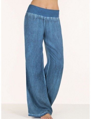Women Mid Waist Casual Solid Denim Wide Leg Pants