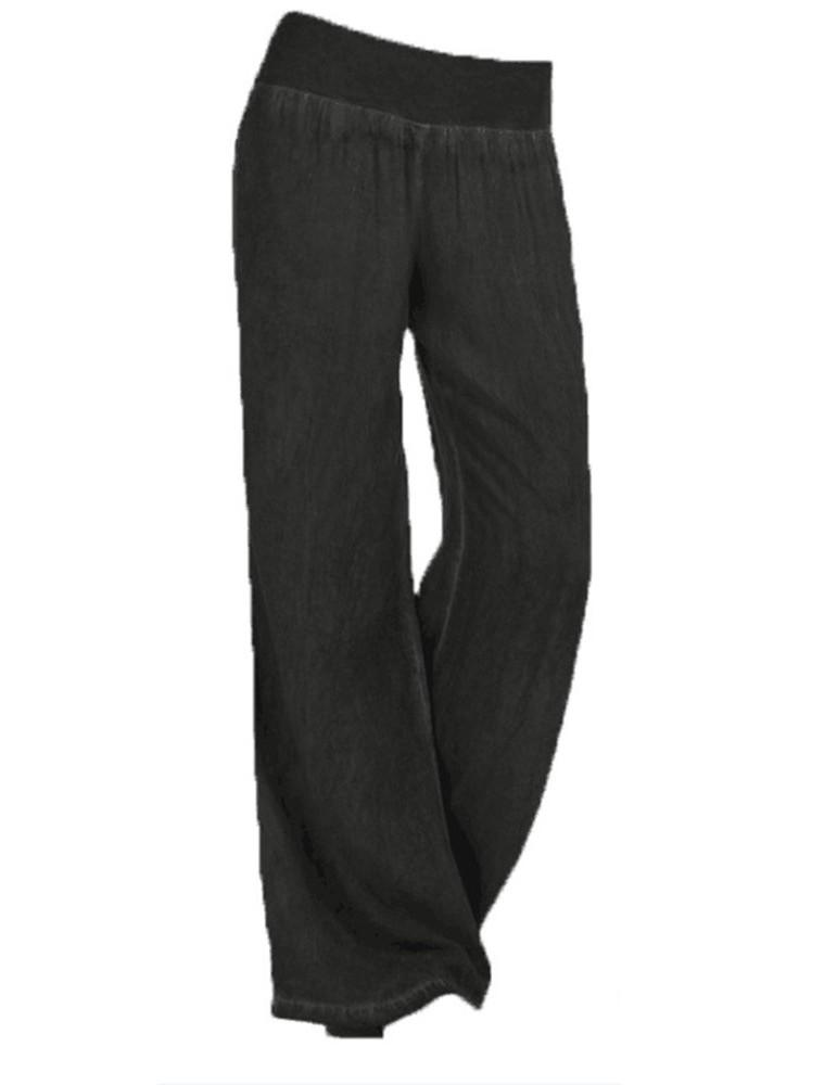 Women Mid Waist Casual Solid Denim Wide Leg Pants
