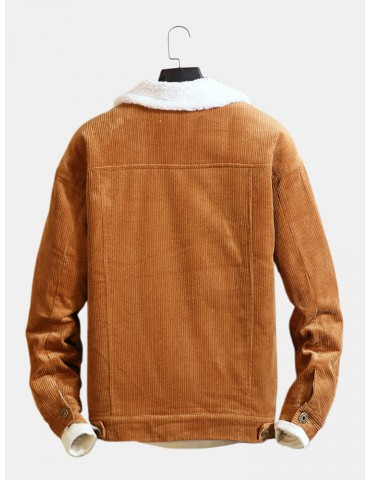 Mens Plain Corduroy Thickened Patchwork Long Sleeve Coat