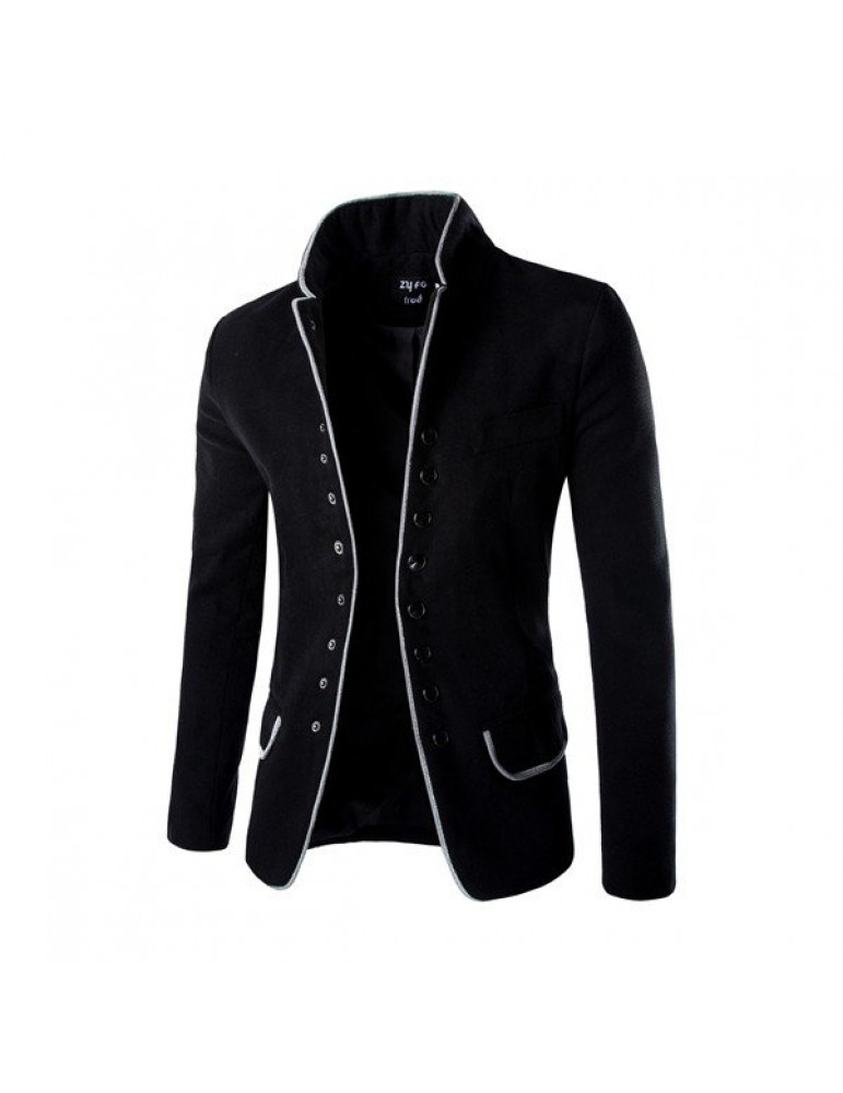 Gentleman's Stylish Retro Woolen Suit Stand Collar Single Breasted Edging Suit Coat