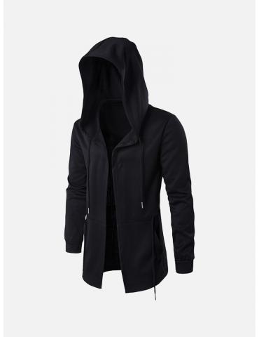 Men's Brief All Black Casual Mid Long Drawstring Waist Hooded Jacket for Men