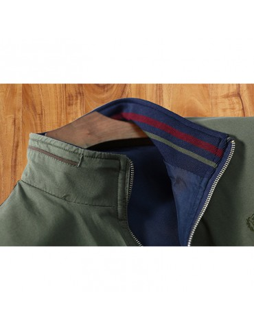 Mens Thermal Revsersible Embroidery Chest Logo Cotton Zipper Pocket Casual Solid Color Jacket