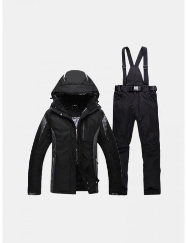 Mens Outdoor Sport Skiing Suit Thickened Warm Waterproof Windproof Casual Hooded Jacket and Pants
