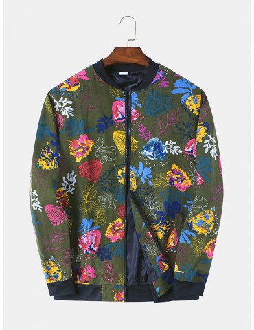 Mens 100% Cotton Vintage Floral Printing Long Sleeve Baseball Uniform Jackets