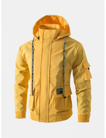 Men's Casual Waterproof Multi Pocket Cotton Blend Hooded Long Sleeve Solid Collor Winkbreak Jacket