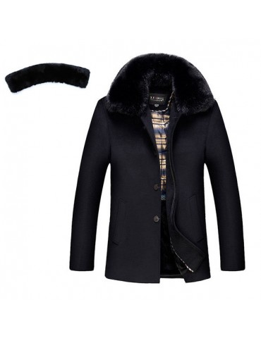 Casual Business Thicken Warm Detachable Furry Collar Woolen Jacket for Men