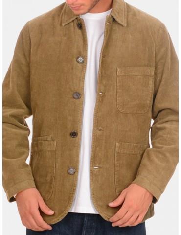 Mens Vintage Loose Multi Pockets Corduroy Single Breasted Long Sleeve Jacket