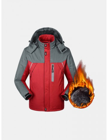 Winter Thicken Warm Outdoor Water Repellent Windproof Detachable Hood Jackets for Men