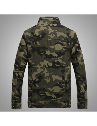Military Outdoor Epaulets Camo Printing Loose Cotton Jackets for Men