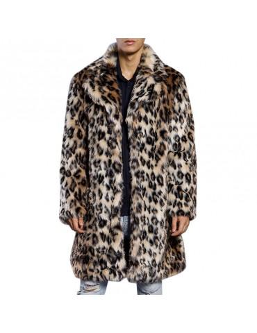 Mens Winter Warm Leopard Faux Fur Coat Suit Collar Mid-long Casual Jackets