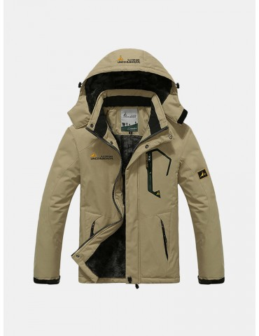 Mens Winter Outdoor Thicken Warm Breathable Windproof Water Repellent Climbing Hooded Jacket