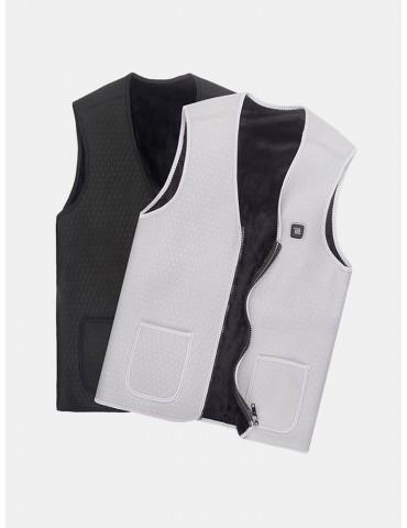 Men Winter 65℃ USB Electric Heating Vest Thicken Warm Fleece Temperature Control Waistcoat