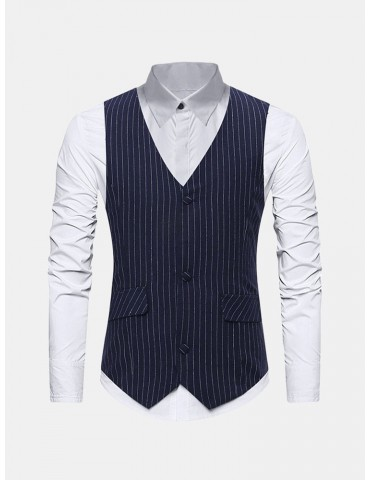 Business Formal Stripes Slim Vest for Men