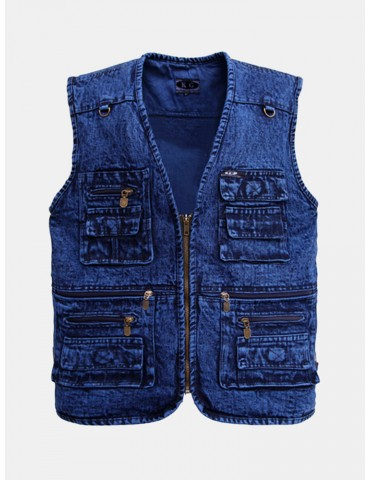 Denim Mutil Pockets Blue Fishing Photography Outdoor Casual Vest for Men