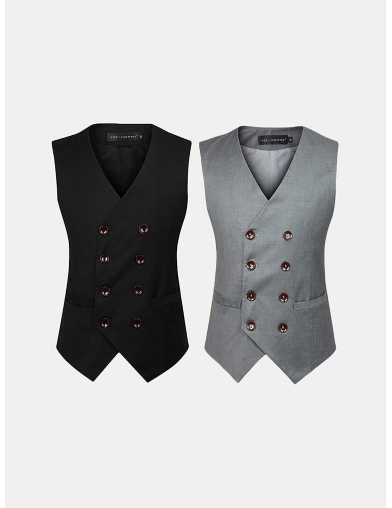 Business Formal Double Breasted Suit Vest British Style Waistcoats for Men