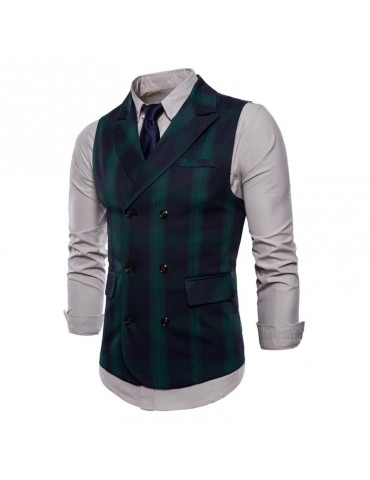 Business Double-breasted Plaid Printed Turndown Collar Slim Vest for Men