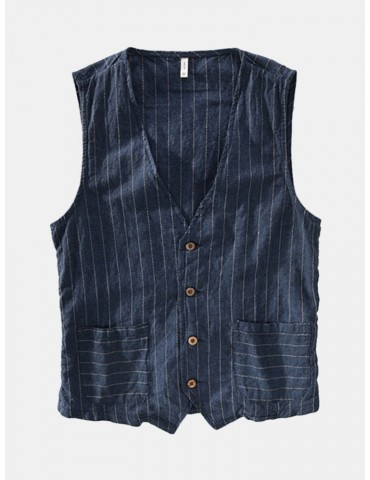 Retro Striped Linen Drawstring V-Neck Vests For Men