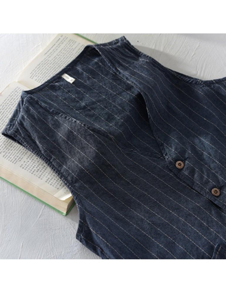 Retro Striped Linen Drawstring V-Neck Vests For Men
