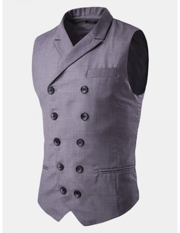 British Style Business Casual Stylish Double Breasted Waistcoats for Men