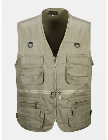 Cotton Multi Pockets Loose Fishing Outdoor Vest for Men