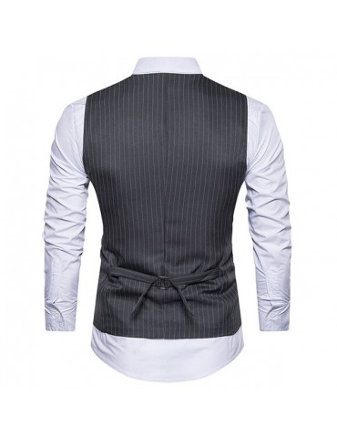 Casual Fashion Business Stripes Printing Single Breasted Waistcoat for Men