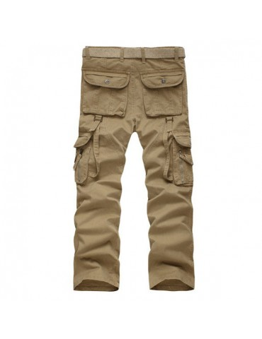 Mens Casual Cotton Multi-pocket Loose Military Cargo Pants