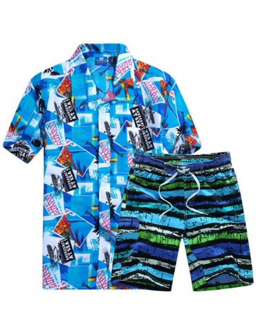 Hawaiian Printing Loose Shirt Suit Board Short for Men