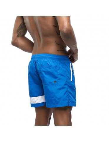 Men Quick Dry Beach Board Short Side Zipper Pocket Patchwork Stripe Sport Shorts