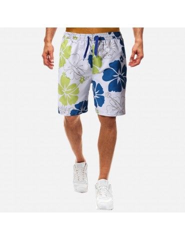 Men Floral Printing Quick Drying Board Shorts Drawstring Knee Length Beach Casual Shorts