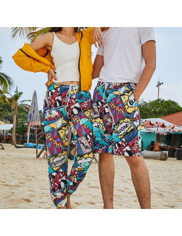 Couples Funny Print Various Length Beach Board Shorts Waterproof Quick Dry With Side Pocket