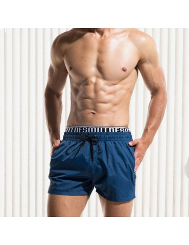 Double Waistband Drawstring Inside Pockets Mesh Stylish Board Short for Men